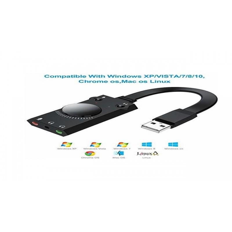 INTERFACE USB A DOS SALIDAS DE AUDIFONO 1 ENTRADA DE MIC